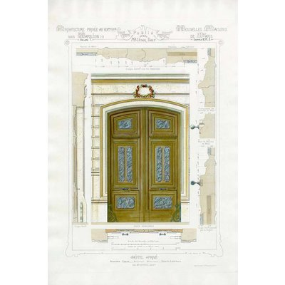 The Picturalist Framed Print on Rag Paper: Architectural Elevation of a French Hôtel Privé Entrance Napoleon III Style