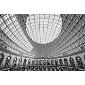 Framed Print on Rag Paper: Round Classic Perspective In Black and White