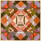 Framed Print on Rag Paper Modernist Circles in Pink, Green and Red  on Nouvelles Variations by Edouard Benedictus