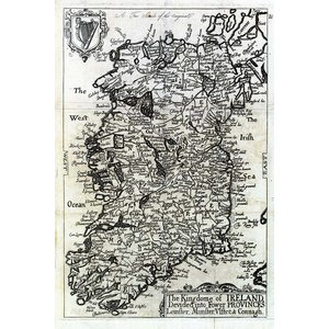 Framed Print on Rag Paper Antique Map of the Kingdom Of Ireland