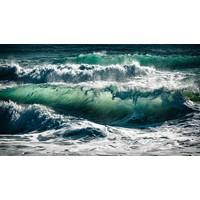 LED Backlit Fabric Print - Back Lit Photography Green Wave Breaking