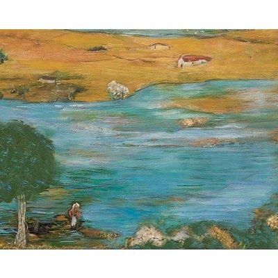"Framed Print on Rag Paper: ""The Pond"" by Ljubica Hajduka"