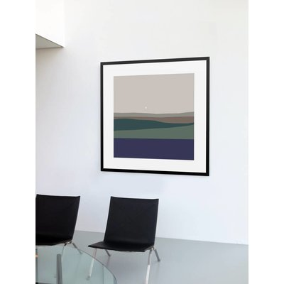 The Picturalist Framed Print on Rag Paper: Landscape with Full Moon by Alejandro Franseschini