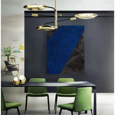 The Picturalist Framed Print on Canvas: Black and Blue 1 Canvas by Evelyn Ogly
