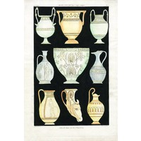Framed Print on Rag Paper: Antique Greek Vases and Urns Series 1