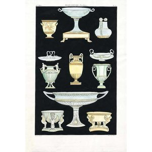 Framed Print on Rag Paper: Antique Greek Vases and Urns Series2