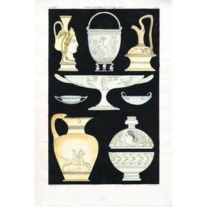 Framed Print on Rag Paper: Antique Greek Vases and Urns Series 3