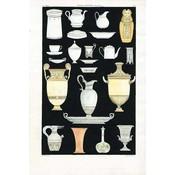 Framed Print on Rag Paper: Antique Greek Vases and Urns Seriess 4