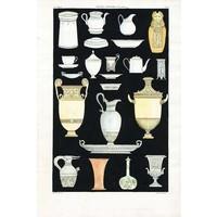 Framed Print on Rag Paper: Antique Greek Vases and Urns Series 4