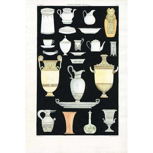 Framed Print on Rag Paper: Antique Greek Vases and Urns Series 4