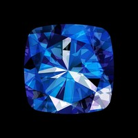 Framed Facemount Acrylic Precious Gem Blue Sapphire Radiant