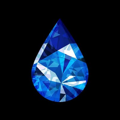 The Picturalist Framed Facemount Acrylic: Precious Gem Blue Sapphire Pear Shape