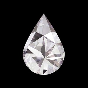 Framed Facemount Acrylic Precious Gem White Pear Shape Diamond