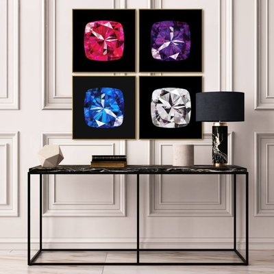 The Picturalist Framed Facemount Acrylic: Precious Gem Blue Sapphire Radiant