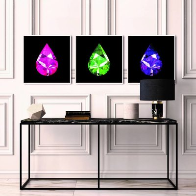 The Picturalist Framed Facemount Acrylic: Precious Gem Purple Amethyst Pear Shape