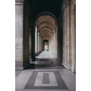 Framed Print on Rag Paper The Louvre Perspective