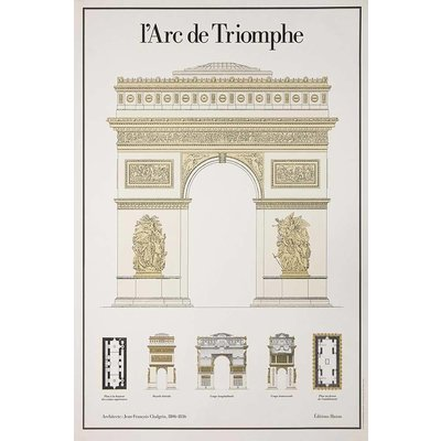 Framed Print on Rag Paper: L' Arc De Triomphe Architectural Drawings