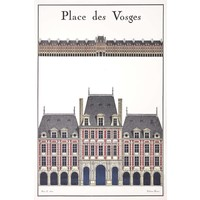 Framed Print on Rag Paper: La Place Des Vosges
