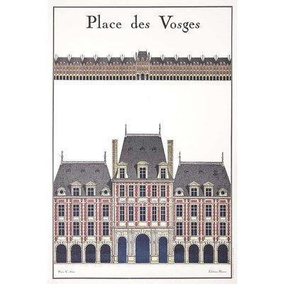 Framed Print on Rag Paper: La Place Des Vosges Architectural Drawing