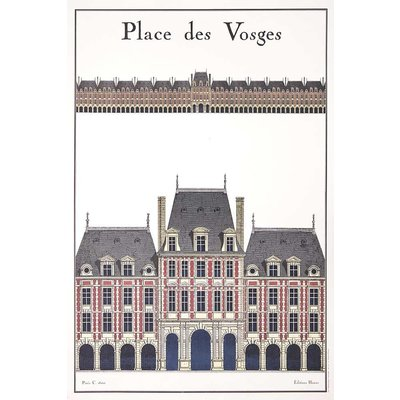 The Picturalist Framed Print on Rag Paper: La Place Des Vosges Architectural Drawing