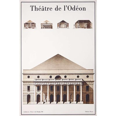 Framed Print on Rag Paper: Le Theatre de L'Odeon Architectural Drawings