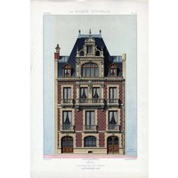 Framed Print on Rag Paper: Architectural Elevation for a French Hotel Facade
