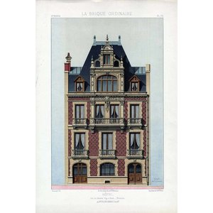Framed Print on Rag Paper Architectural Elevation for a French Hotel Facade