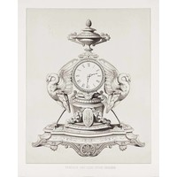 Print on Paper US250 - Greek Clock with Birds Antique Print