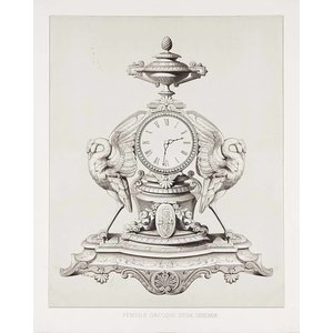 Framed Print on Rag Paper Greek Clock with Birds