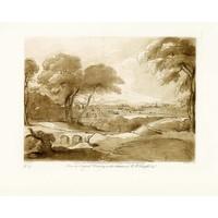 Framed Print on Rag Paper Antique Pastoral Scene