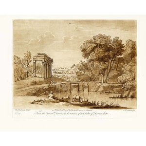 Framed Print on Rag Paper Antique Pastoral Scene with Classical Building