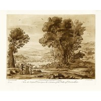 Framed Print on Rag Paper Antique Pastoral Scene with Bridge
