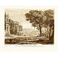 The Picturalist Framed Print on Rag Paper: Antique Pastoral Scene with Classical Building