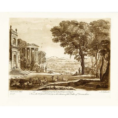 Framed Print on Rag Paper Antique Pastoral Scene with Classical Building Duke Of Devonshire by J. Boydell 1776