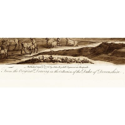 Print on Paper US250 - Antique Pastoral Scene with Classical Building Duke Of Devonshire by J. Boydell 1776