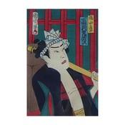Framed Print on Rag Paper: Japanese Kabuki Uki-yoe Block-print by Toyohara Kunichika 7