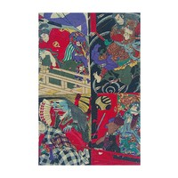 Framed Print on Rag Paper: Japanese Kabuki Uki-yoe Block-print