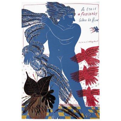 Framed Print on Rag Paper: Le Trait de Fassianos Galerie La Hune Paris
