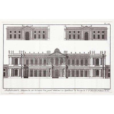 Framed Print on Rag Paper: Elevation du Grand Hotel de Paris by J.F. Blondel, Architect of the King.