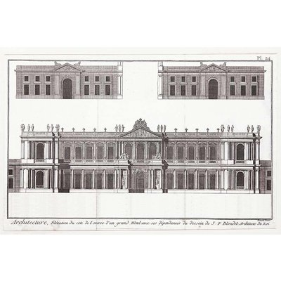 The Picturalist Framed Print on Rag Paper: Elevation du Grand Hotel de Paris by J.F. Blondel, Architect of the King.