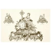 Framed Print on Rag Paper: Antique Clock