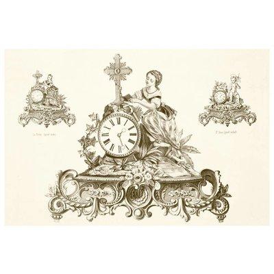 Framed Print on Rag Paper: Antique French Clock Vintage Print