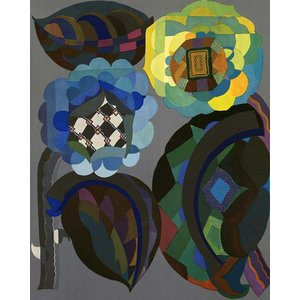 Print on Paper US250 - Geometric in Blue and Green by Georges Benedictus