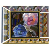 The Picturalist Framed Print on Rag Paper: Geometric Pink and Blue Roses by Georges Benedictus