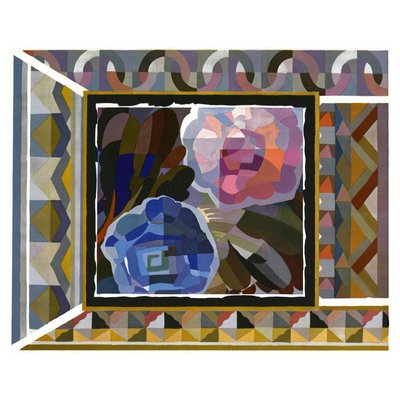 Framed Print on Rag Paper: Geometric Pink and Blue Roses by Georges Benedictus