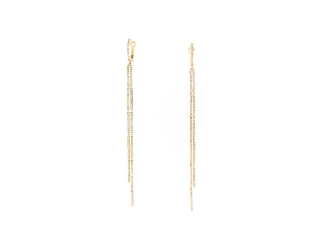 Long Double Pave Diamond Strand Earrings