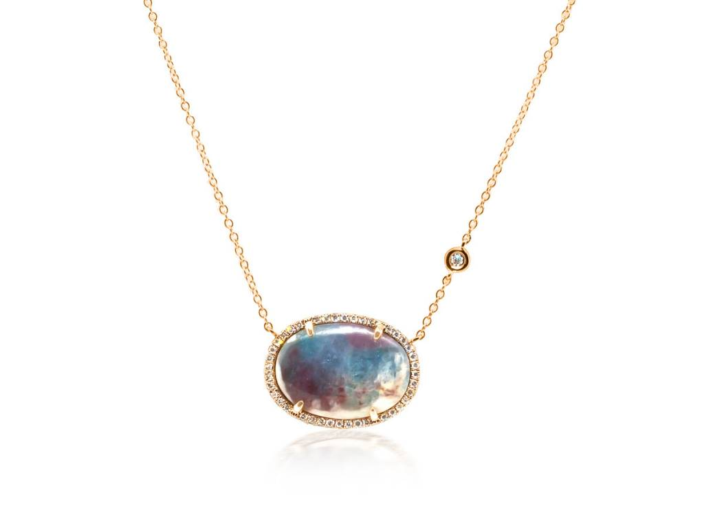 Oval Paraiba Tourmaline Dia Necklace