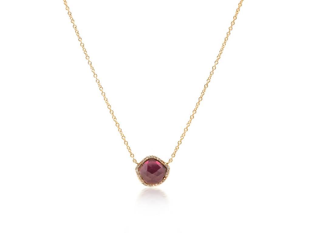 Liven Rose Cut Garnet and Diamond Necklace