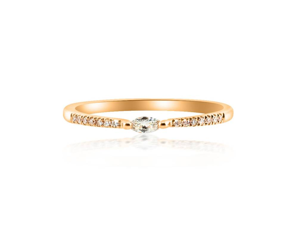 Petite Marquise Diamond Pave Rose Gold Ring