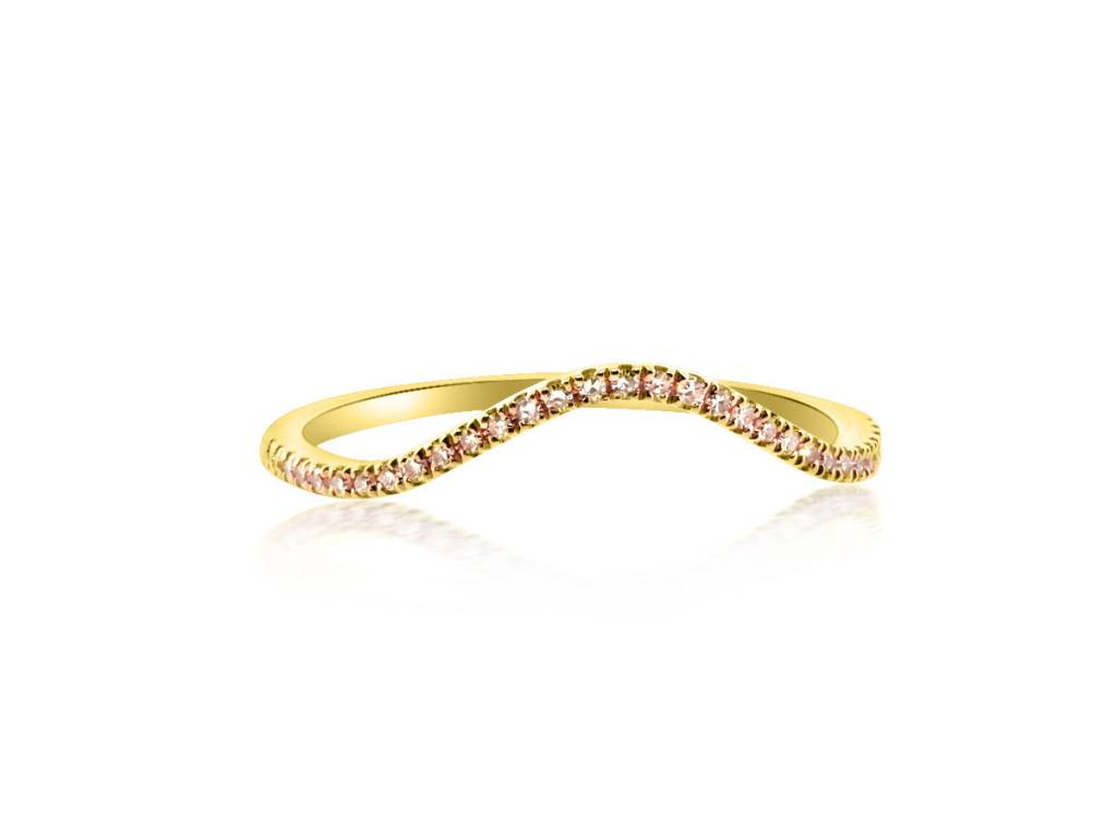 Liven High Curved Pave Diamond Gold Band